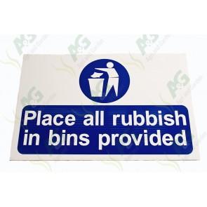 Sign:Rubbish In Bins 450 X 300 mm - Plastic
