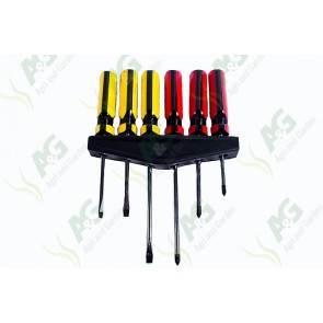 Screwdriver Set Red/Yellow 6Pc