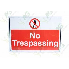 Sign: No Trespassing 450 X 300 mm - Plastic
