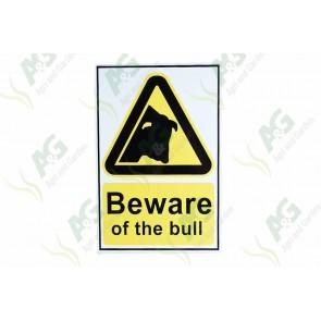 Sign: Beware Of The Bull 150 X 300 mm - Aluminium